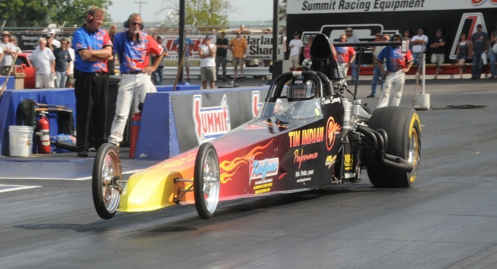 Kevin-Swaney-Tin-Indian-Performance-Pontiac-Powered-Dragster-wheels-up-launch